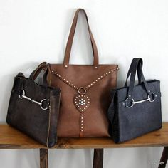 Equestrian Large Leather Vintage Harness Tote Bag with Silver Studs by Stacy…