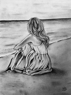 Sad Drawings, Pencil Art Drawings, Art Drawings Sketches, Drawing Sites, Art Disney, Art Sketchbook, Art Girl, Line Art, Watercolor Art