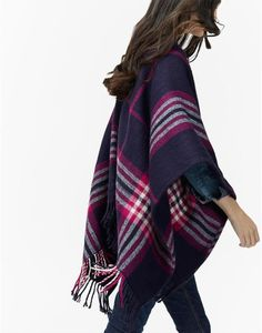 INNIS Classic Checked Wrap Scarf Blanket cape