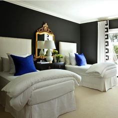 Guest Bedroom- black walls with white bedding, gold mirror, antique furniture and a pop of bold blue Luxe Interiors, Bedroom Inspirations, Home Bedroom, Bedroom Design, Guest Bedrooms, Luxe Bedroom, Bedroom Decor, Beautiful Bedrooms, Home Decor