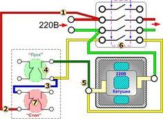 Схема подключения магнитного пускателя  через кнопочный пост