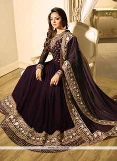 Buy best bollywood salwar suits online with free shipping service and cod. Order this Drashti Dhami embroidered, patch border and resham work floor length anarkali suit for wedding. - New Arrivals