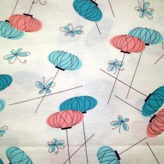 1950s Vintage Cotton Fabric - Eames Era Lanterns and Butterflies