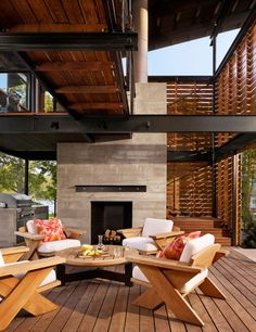 All of my favorite elements -- wood, concrete, & steel -- in a terrific outdoor room.