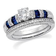 Alicia...The Brilliance of The Jewelry Hut Fancy Designer Antique Retro. Vintage Style Diamonds, The Birth Gemstone for Month of April, and Sapphires in Gold Engagement Ring and Diamonds Wedding Band. On Sale: $1,195.00