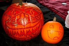 Prepare your pumpkin for carving by transferring your design onto the pumpkin's surface.