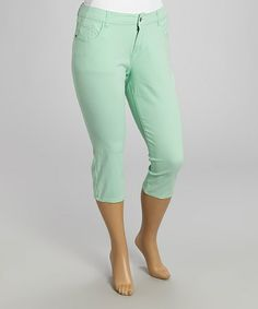 This Mint Twill Capri Pants - Plus is perfect! #zulilyfinds