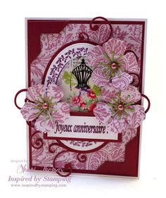 Stamps from Beautiful Ovals, French Boutique and Birthday Greetings have been used in the creation of this vintage air birthday card.