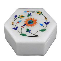 Marble Stoneware Box with Lid Inlay Flower Arrangements Handmade by Artisan by ShalinIndia, http://www.amazon.com/dp/B009OY6YHG/ref=cm_sw_r_pi_dp_7yWZqb1VS20QT