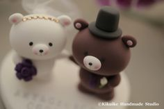 bride and groom  bear Wedding Cake Topper