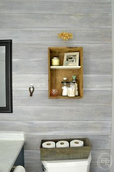 Shiplap wall decor ship lap wall install a plank wall how to whitewash wood whitewashed horizontal Plank Wall Bathroom, Wood Bathroom, Budget Bathroom, Bathroom Remodeling, Mosaic Bathroom, Bathroom Sets, Bathroom Images, Industrial Bathroom, Brown Bathroom