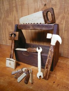 We cannot wait to get this for Tallulah.  Wood  toy Tool Set 7pc by FirstCraftCreations on Etsy, $49.00