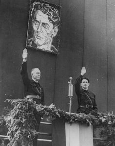 Romanian field marshal Ion Antonescu and Iron Guard leader Horia Sima speak in Bucharest after overthrowing the monarchy of King Carol II. Flak Tower, Field Marshal, Last Knights, Central And Eastern Europe, Archangel Michael, St Michael, Roman Empire, Christian Faith, World War Two