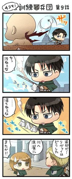 """SnK episode 9 Levi: """"Tsk, this is disgusting"""" Levi: """"...It's not coming off"""" Erwin: """"We're backing off, where's Levi?"""" Petra: """"He went to the river to wash"""" Erwin: """"What!? Not again..."""""""