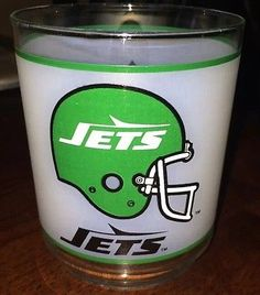 New York JETS Football Drinking Glass Mobil Gas Tumbler Cup NY VTG NFL HELMET