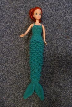 Fed up of skimpy mermaid outfits for dolls? A cross between a mermaid's tail and an evening dress, this crochet dress should keep any little girl happy!