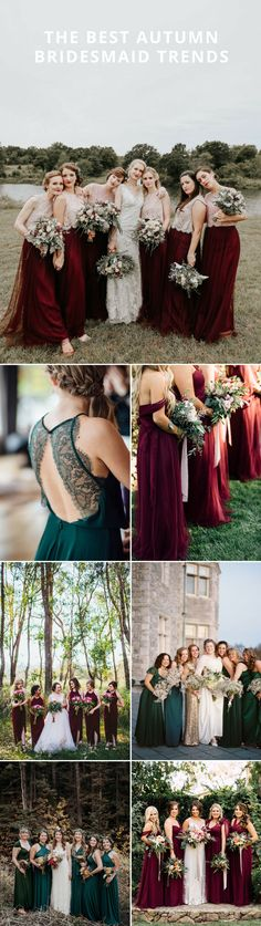 Autumn Bridesmaid Inspiration | Forest Green | Burgundy | Bridesmaid Dresses