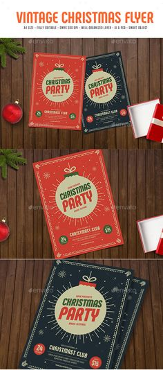 Vintage Christmas Flyer - Holiday Greeting Cards Download here: https://graphicriver.net/item/vintage-christmas-flyer/18748231?ref=alena994