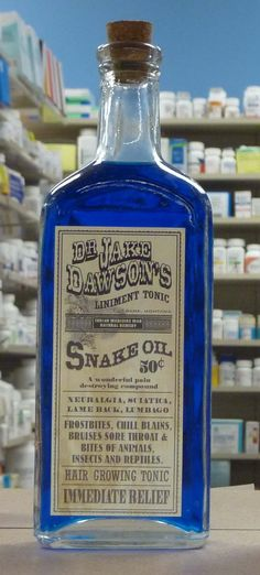 """Where'd the phrase """"Snake Oil Salesman"""" come from? It conjures up images of seedy profiteers trying to exploit an unsuspecting public by selling them fake cures. Antique Glass Bottles, Vintage Perfume Bottles, Bottles And Jars, Apothecary Bottles, Altered Bottles, Vintage Labels, Vintage Ads, Vintage Advertisements, Vintage Makeup"""