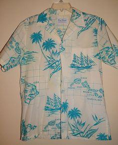 8b4bc46e Vintage 60's Men's KAI NANI Novelty HAWAIIAN Map Palm Tree Print Dapper  Shirt