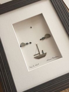 8 by 10 sailor's delight pebble art by sharon nowlan Feather Painting, Pebble Painting, Stone Painting, Stone Crafts, Rock Crafts, Diy Crafts, Pebble Pictures, Cottage Art, Tree Canvas