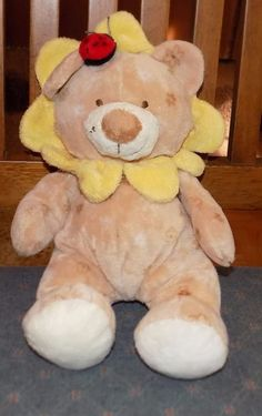 """10"""" Ty Pluffies BLOSSOM Plush Bear Yellow Tan Flower Petals BEANBAG Soft 8 #TyPluffies"""