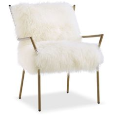 Lara Sheepskin Accent Chair Gold and White (13 735 UAH) ❤ liked on Polyvore featuring home, furniture, chairs, accent chairs, white and gold furniture and sheepskin chair