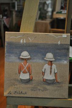 Paintings Famous, Cute Paintings, Watercolor Paintings, Beach Canvas Wall Art, 2 Kind, Painting People, Beginner Painting, Am Meer, Acrylic Art