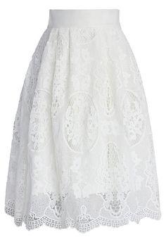 White crochet midi skirt