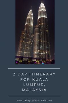 When visiting Kuala Lumpur many people don't spend long in Malaysia's Capital so here is a KL itinerary for spending 2 days in Kuala Lumpur. How to see Kuala Lumpur in 48 Hours: An Itinerary. #VisitKL #KualaLumpur Explore the best of the city in this Kuala Lumpur 2 Day Guide and Itinerary. Travel Route, Asia Travel, Places To Travel, Travel Goals, Travel Advice, Travel Guides, Travel Around The World, Around The Worlds, Malaysia Travel Guide