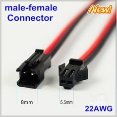 10 pares tira de Led conector 2 pin cable 20 cm terminales red de alambre negro JST hombre mujer plug cable Led lámpara cable conductor SMP 22AWG