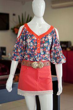 Skazi - Camisa viscose floral com ombros vazados, mini saia com renda na barra   Flickr - Photo Sharing!