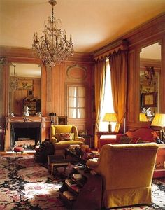 The cosy boudoir glows with the warmth of antique wood panelling complemented by a sofa and armchairs is covered in deep gold velvet with curtains to match. The Duke and Duchess of Windsor Paris home House Design, Room, House, Interior, Home, Beautiful Interiors, House Interior, Interior Design, English Interior