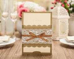 Elegant Gold Lace Pocket Wedding Invitations Laser Cut Party Invites Card 2016 Marriage Card Free Customized Print Text