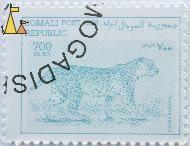 Leopard, Somali Republic, Somalia, stamp, mammal, cat, 700 Sh.SO, Post, 1998, Panthera pardus