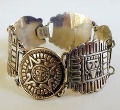 Vintage Mexico Sterling Panel Link Bracelet Signed Pre Columbian 35 Grams Tribal #SIGNED