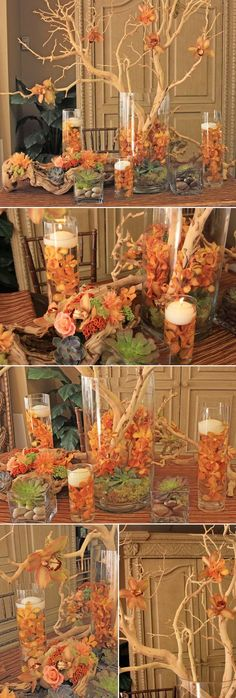 35 ideas wedding table names love center pieces Wedding Table Names, Fall Wedding Centerpieces, Wedding Decorations, Table Decorations, Manzanita Branches, Manzanita Centerpiece, Purple Centerpiece, Centerpiece Ideas, Calla Lily Wedding