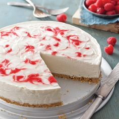 This scrumptious No-Bake Raspberry Swirl Cheesecake is the sweetest way to beat the summer heat. Makes 1 cake No Bake Desserts, Easy Desserts, Raspberry Swirl Cheesecake, Graham Cracker Crumbs, Paula Deen, Cake Ingredients, Savoury Cake, Mini Cakes, Cheesecake Recipes
