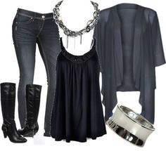 """Grey and Black"" by chells-style on Polyvore"