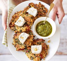 These veggie burgers are scrumptious and simple to make, top with fresh pesto and goat's cheese for a light lunch or dinner