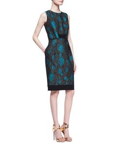 Sleeveless Floral-Print Cocktail Dress by Carmen Marc Valvo at Neiman Marcus.