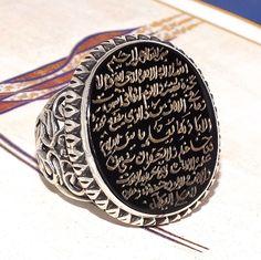 Ayat al-Kursi engraved on Onyx Islamic ring 925 Sterling Silver Unique Handmade #KaraJewels #Islamic