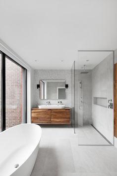 LEMAYMICHAUD | Design | Architecture | Interior Design | Home design | Montreal | Bathroom | Toilette | Salle de bain Architecture Design, Of Montreal, Washroom, Bathtub, House Design, Interior Design, Home, Shower Screen, Toilets