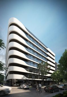 """Varna Wave е стилна жилищна сграда, ситуирана в централната част на град Варна в ъглов имот между ул. """"Македония"""" и бул. """"Ген. Колев"""". Сградата е вдъхновена от движене� ... Modern Architecture House, Futuristic Architecture, Facade Architecture, Modern Buildings, Facade Design, Exterior Design, Architectural Section, Balcony Design, Oeuvre D'art"""