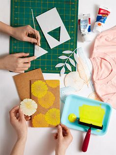 Block printing clothing, towels, tote bags - you name it!! Looks like fun!!