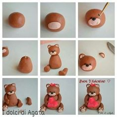 How to make a fondant teddy bearTutorial - how to make cute Teddy bear fondant cake topper for cakes, cupcakes, birthday party, christening, baptismTutorial de osito con pastas moldeables Delicious Cake for youFimo y fondantThis is made from sugar but I w Fondant Figures, Fondant Cake Toppers, Fondant Cakes, Cute Polymer Clay, Polymer Clay Animals, Polymer Clay Projects, Rose En Fondant, Fondant Flowers, Fondant Bow