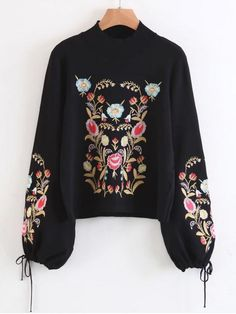 Up to 70% OFF! Mock Neck Flare Sleeve Floral Embroidered Sweater. Zaful,zaful.com,zaful online shopping, sweaters&cardigans, sweater,sweaters,cardigans,choker sweater,chokers,chunky sweater,chunky,cardigans for women, knit, knitted, knitting, knitwear, cardigan, cardigan outfit,women fashion,winter outfits,winter fashion,fall outfits,fall fashion, halloween costumes,halloween,halloween outfits,halloween tops. @zaful Extra 10% OFF Code:ZF2017