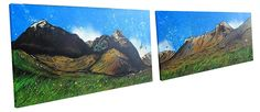 Glencoe & The Three Sisters, Scottish Highlands. (Panoramic Double Canvas Commission). Mixed media painting, oil, acrylic and spray paint.
