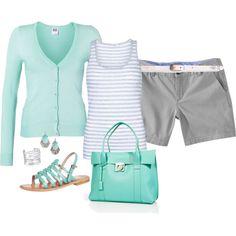 mint cardigan, stripped tank, gray shorts/skinnies, white belt