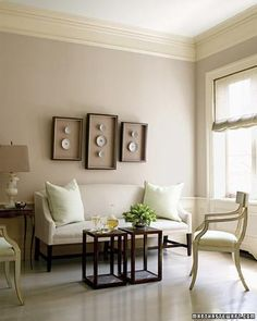 The wall color inspiration for my living room Room Colors, Decor, Side Chairs, Perfect Grey Paint, Wall Colors, Classic Decor, Home Decor, Room, Neutral Room